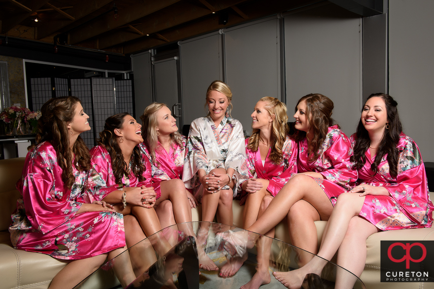 Bride and bridesmaids in their robes at Zen.