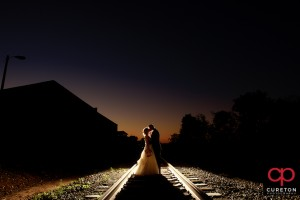 Bride and groom at sunset after an epic outdoor wedding at Zen in downtown Greenville,SC.