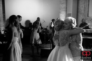 Bride hugging her grandma.