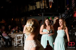 Bridesmaid that caught the bouquet.