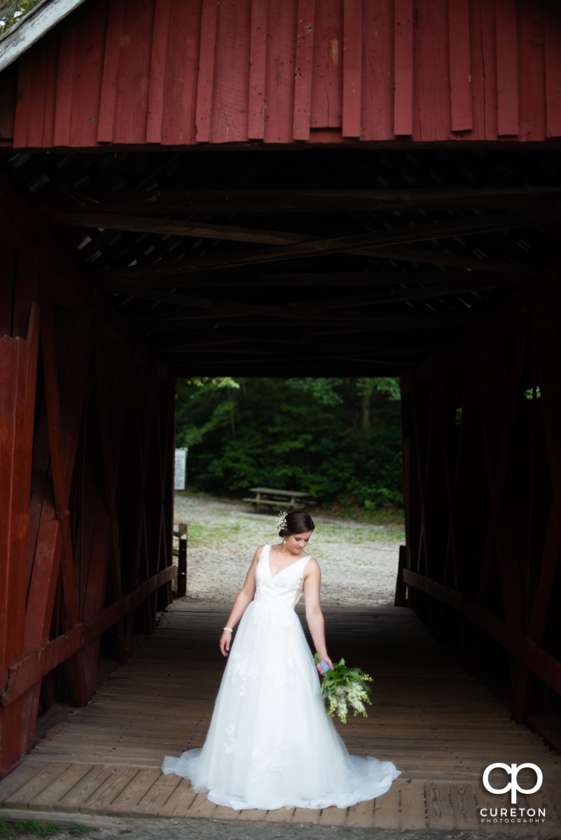 Bride posing in front of an antique wooden bridge.