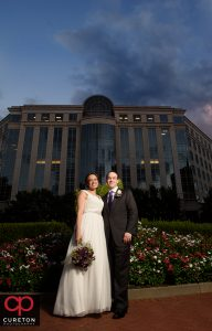 Bride and groom in downtown Charlotte NC.