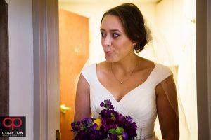 Bride before her wedding at St. Matthew Catholic church in Charlotte NC.