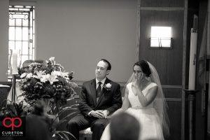 Wedding ceremony at St Matthew Church in Charlotte NC.