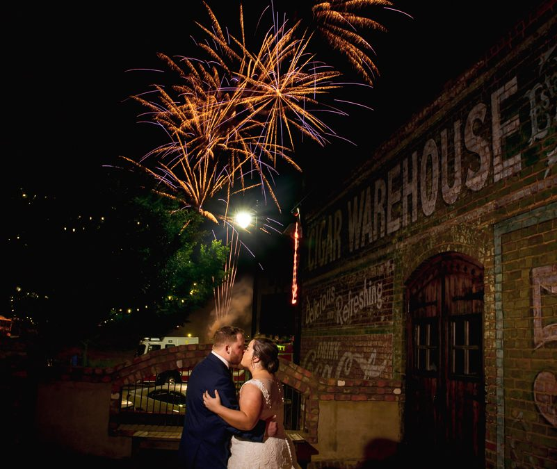 Old Cigar Warehouse downtown Greenville wedding with fireworks – Katelyn + Trent