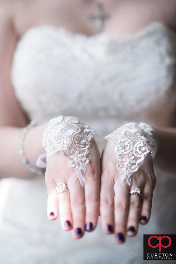 Bride's wedding gloves.