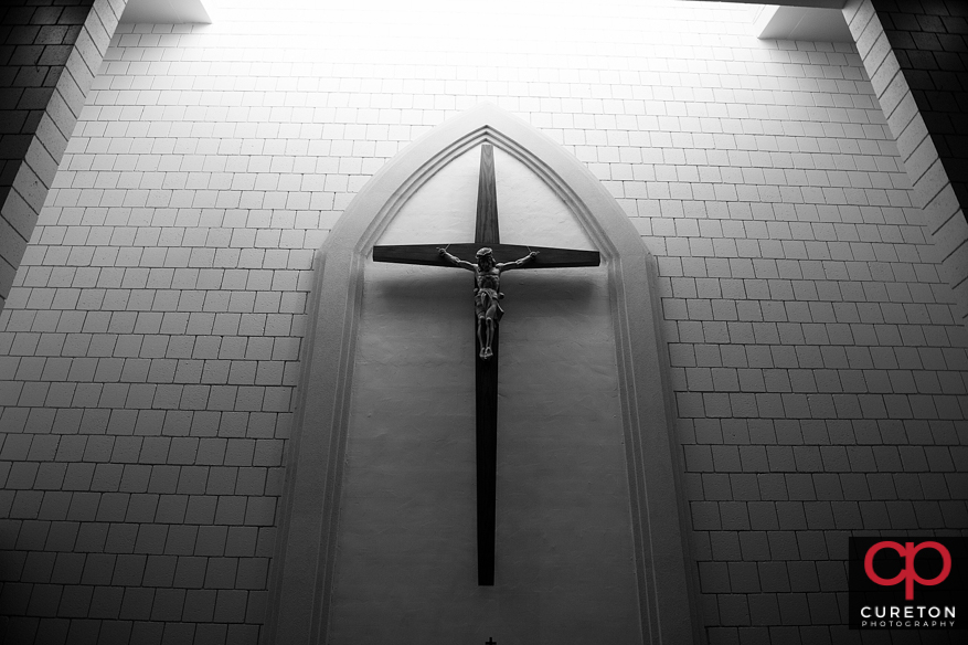 Cross inside church.