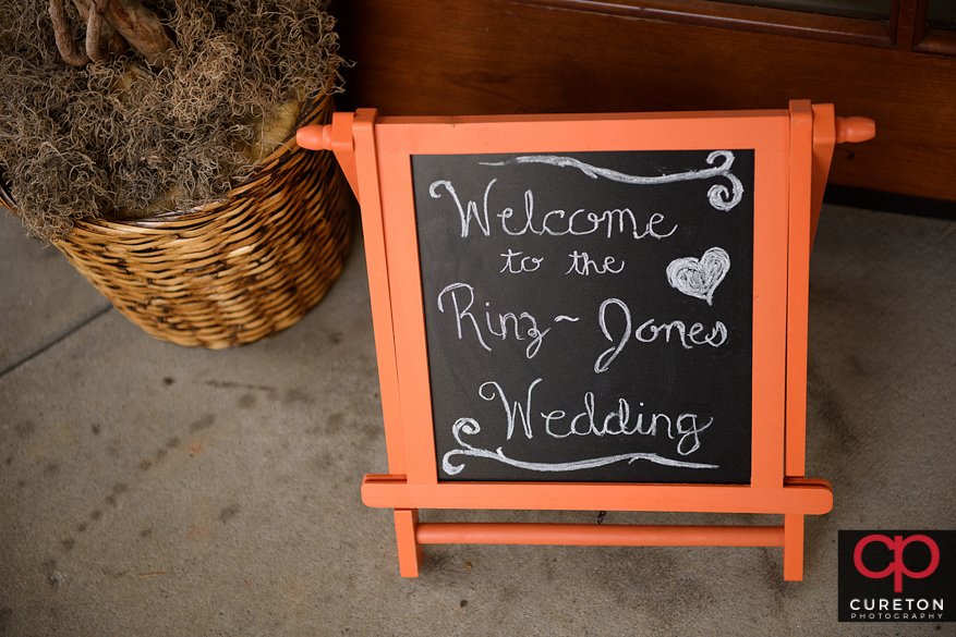 Wedding welcome sign.