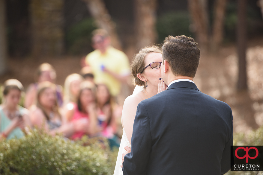 Bride and groom share a first dance.