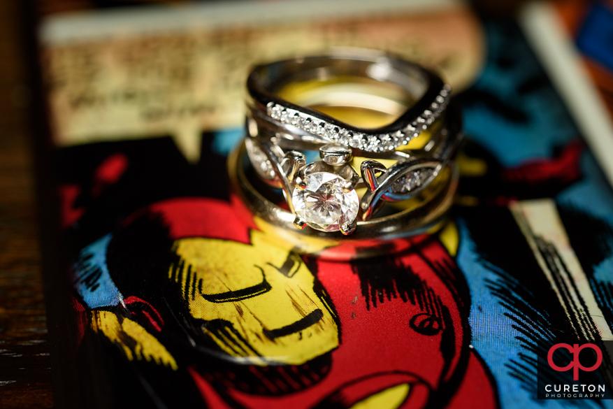 Comic book themed wedding ring shot.