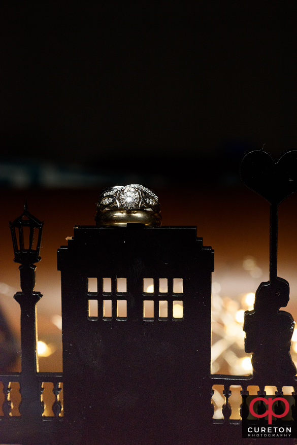 Dr. Who themed wedding ring shot.
