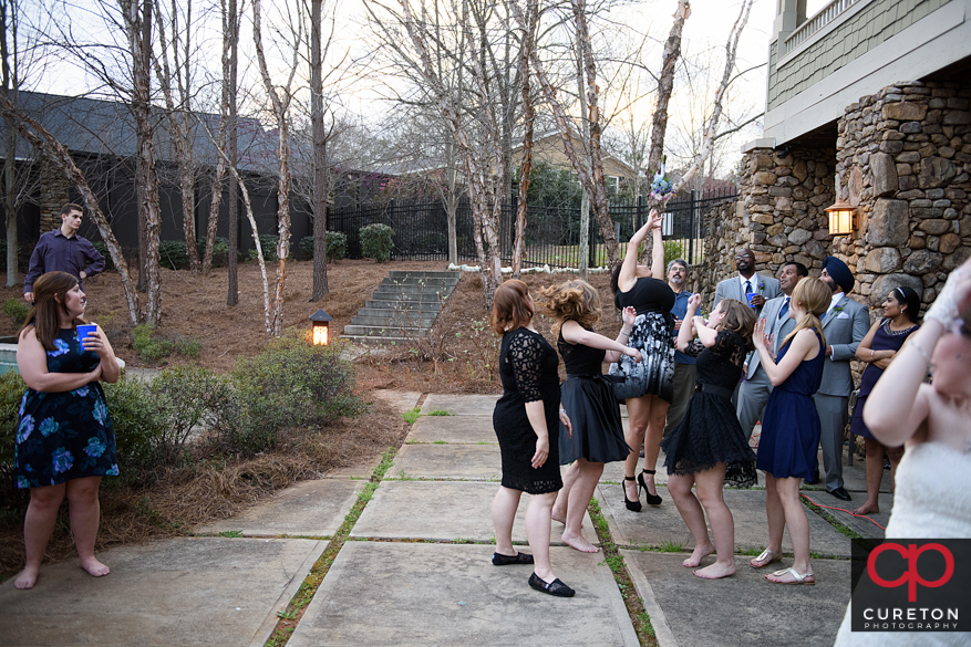Guests having a great time at the wedding reception in Clemson,SC.