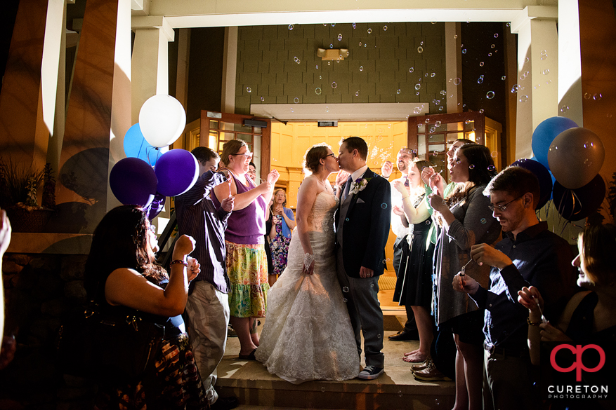 Amazing leave through bubbles after the wedding reception.