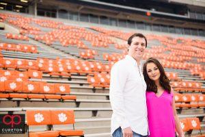 Future bride and groom in the stadium at CLemson.