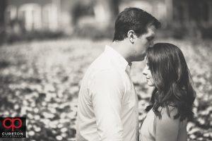 Black and white engagement photo.
