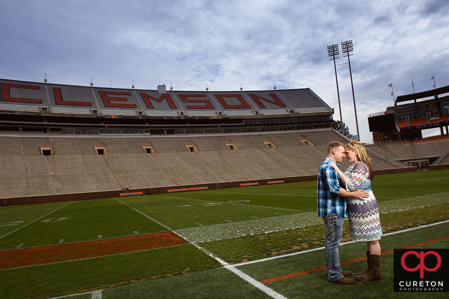 Engaged couple in Death Valley at Clemson SC.
