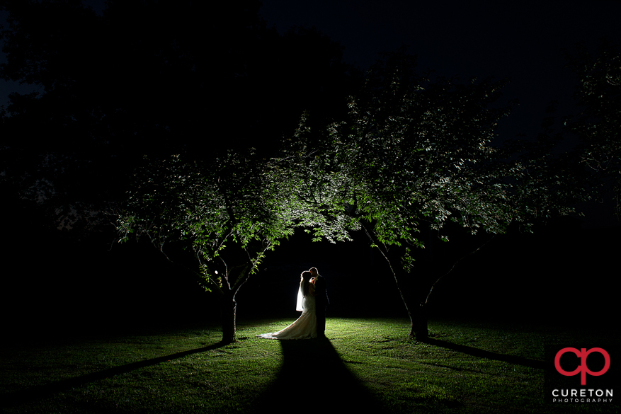 Epic backlit shot of a bride and groom underneath some trees after their wedding.