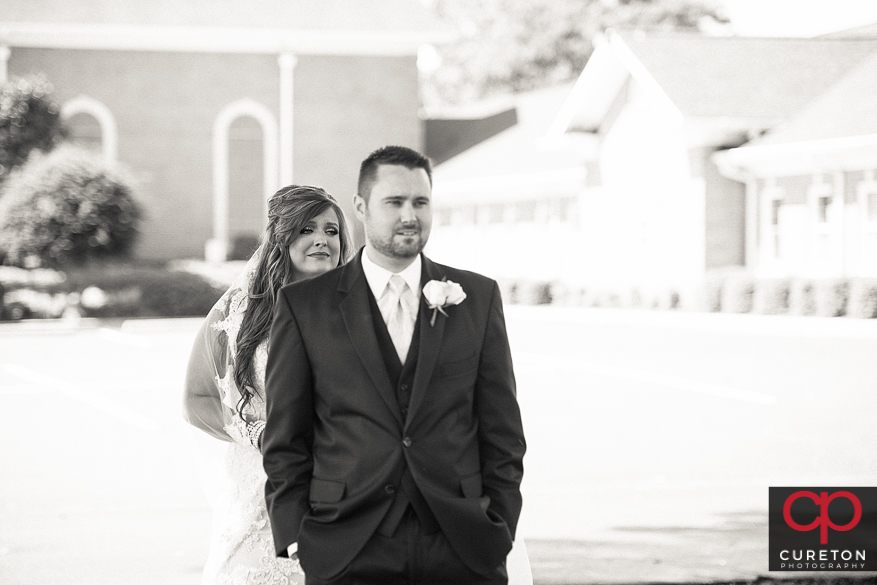Bride gets emotional before seeing her groom for the first time.