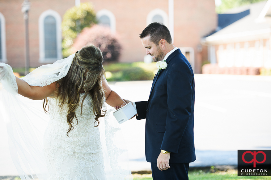 Bride and groom first look before their Cowpens SC wedding at Mountain View Baptist.