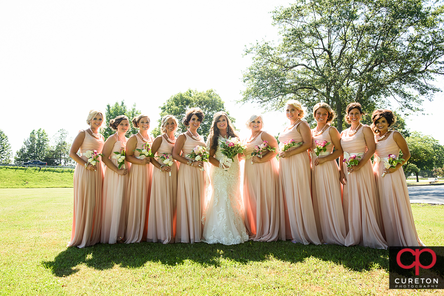 Bride and bridesmaids before their Cowpens SC wedding at Mountain View Baptist.