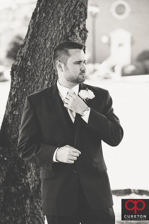 Groom before his wedding.