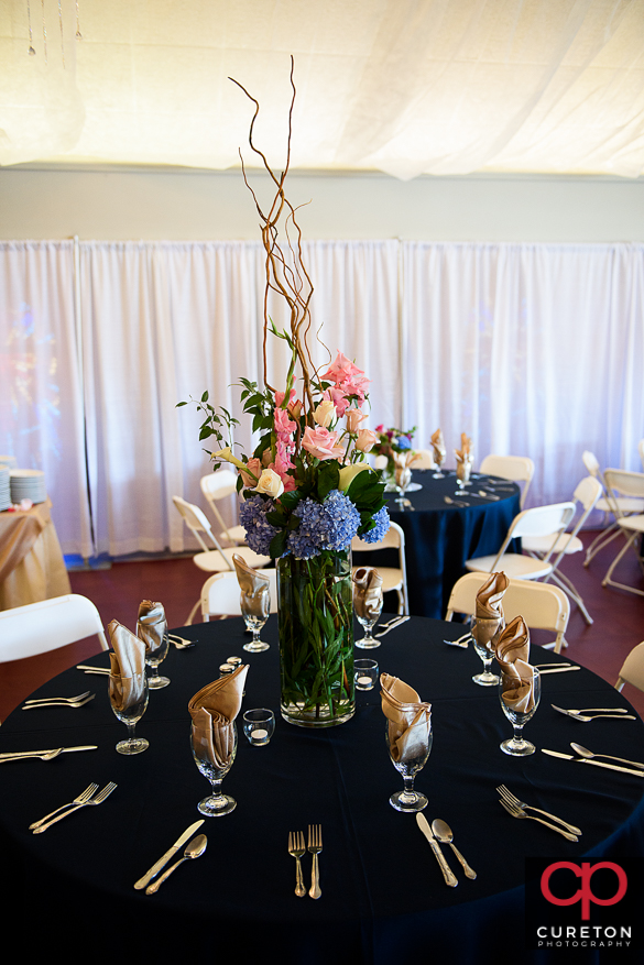 Wedding reception decor by Greenville wedding planner MIssy Willis.