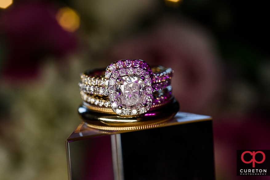 Close up on wedding rings.