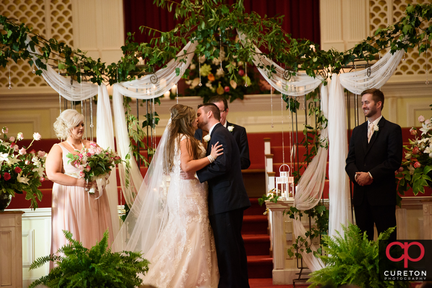 Wedding ceremony at Mountain View Baptist Church in Cowpens,SC.