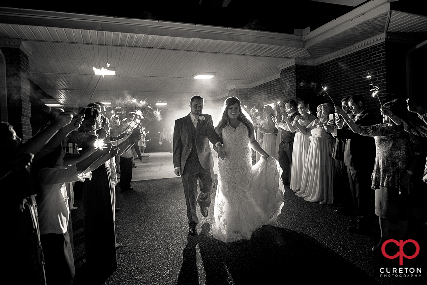 Epic sparkler grand exit after the wedding in Cowpens,SC.