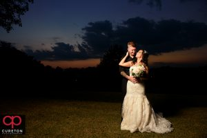 Bride and groom after their wedding at Furman university.
