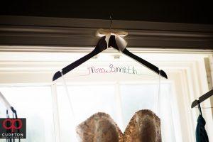Brides customized dress hanger.