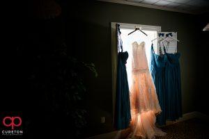 Bride and bridesmaids dresses.