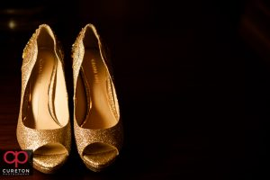 The brides glittery shoes.