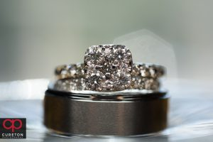 Close up of the bride and groom's rings.