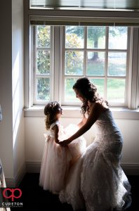 The bride and the flower girl at Daniel chapel.