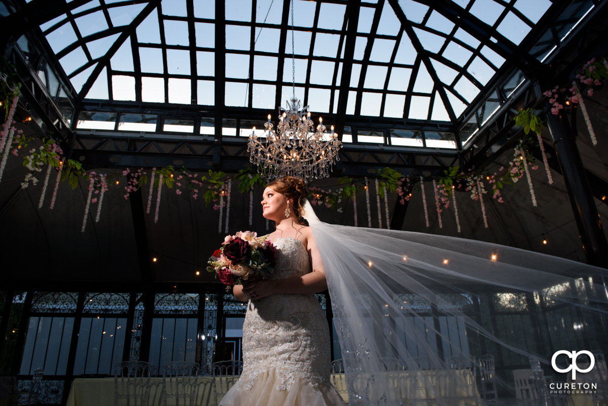 Bride standing underneath a chandelier inside the English conservatory at Edinburgh West, a wedding venue in Taylors,SC.