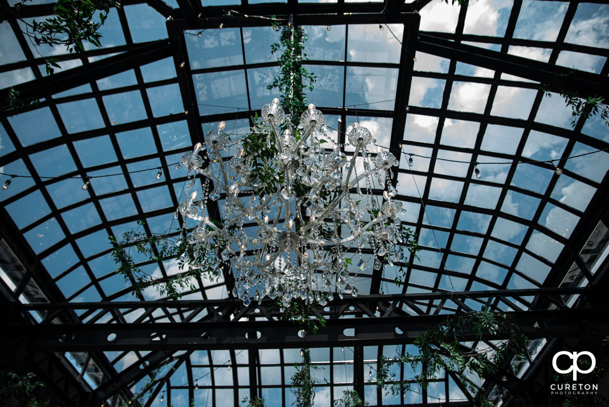 Chandeliers inside the conservatory at Edinburgh West.