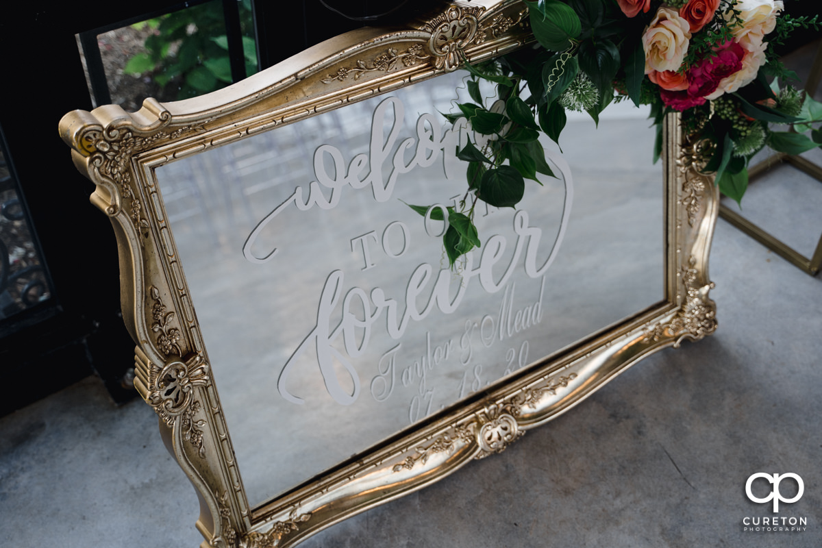 Wedding sign on a mirror.