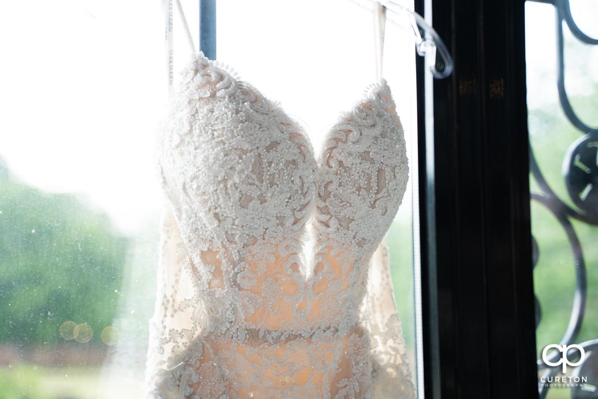 Bridal dress details.