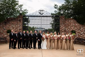 Wedding party in front of iron gates.