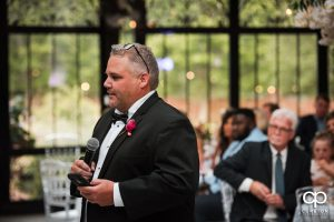 Groom's father making a speech.