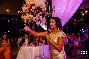 Bridesmaid rapping.