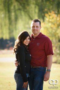Engaged couple wearing South Carolina gamecock shirts.