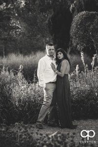 Black and white engagement photo at Furman university.