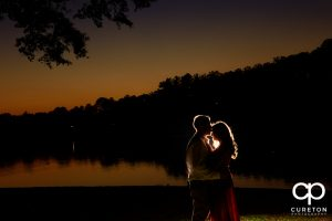 Silhouette of an engaged couple at Furman.