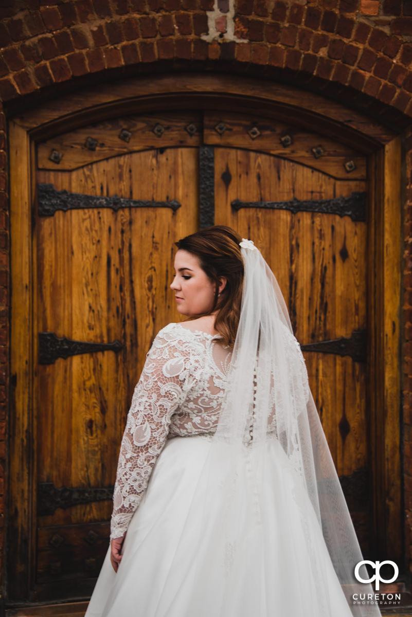 Bride preparing to walk down the aisle.