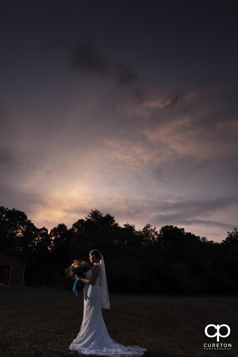 Bride holding her bouquet at sunset during a pre wedding bridal session at Famoda Farms in Taylors,SC.