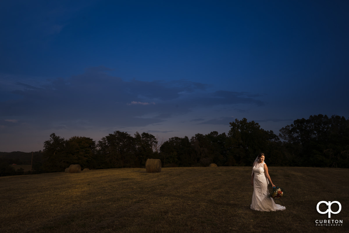 Bride looking at her bouquet in a hay field at sunset in Taylors SC.