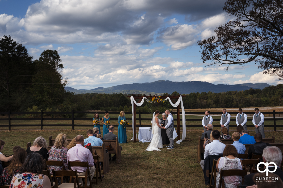 Wedding ceremony at Famoda Farm.