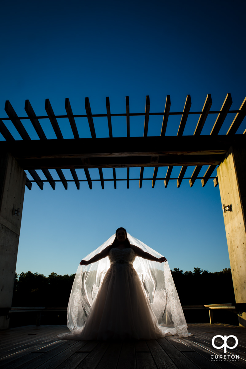 Silhouette of a bride by the lake.